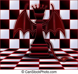 Chess Queen devil. vector