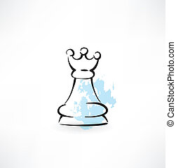 chess Queen grunge icon