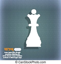 Chess Queen icon. On the blue-green abstract background with shadow and space for your text. Vector