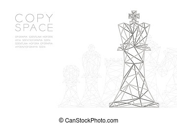 Chess Queen wireframe Polygon silver frame structure, Business strategy concept design illustration isolated on black gradient background with copy space, vector eps 10