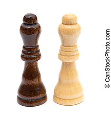 Chess Queens stand on white background