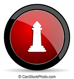 chess red circle glossy web icon on white background - set440