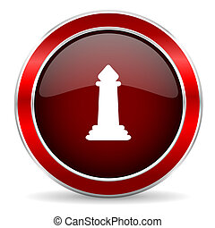chess red circle glossy web icon, round button with metallic border