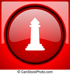 chess red icon plastic glossy button