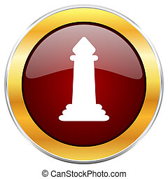 Chess red web icon with golden border isolated on white background. Round glossy button.