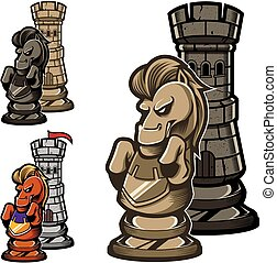 Chess Rook and Knight - Concept cartoon illustration...