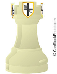 Chess. Rook. - Chessmen styled medieval knights. ...