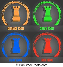 Chess Rook icon. Fashionable modern style. In the orange, green, blue, red design. Vector