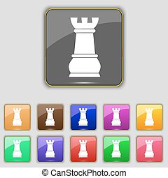 Chess Rook icon sign. Set with eleven colored buttons for your site. Vector