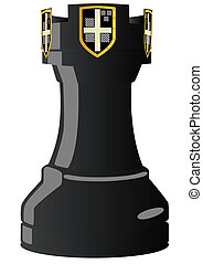 Chess. Rook - Chessmen styled medieval knights. Illustration...