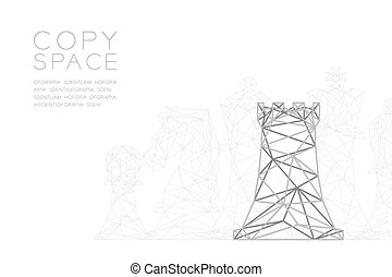 Chess Rook wireframe Polygon silver frame structure, Business strategy concept design illustration isolated on black gradient background with copy space, vector eps 10