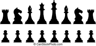 Chess set - Editable vector silhouettes of a set of standard...