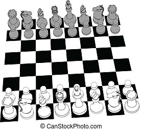 Chess set game pieces line drawing 3D - Complete black and...