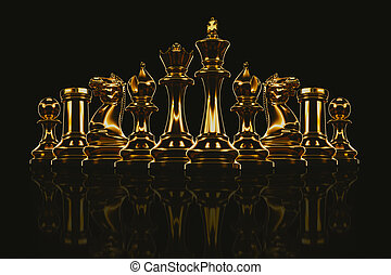 Chess Set metallic gold. - Gold metal chess set in the...