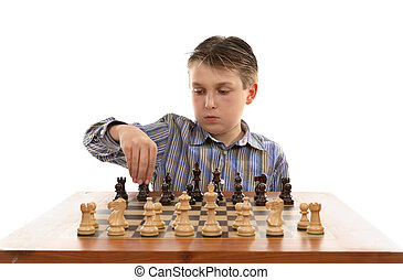 Chess setup - A young player setting up a chess table