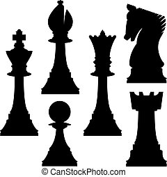 Chess silhouettes - Chess pieces in vector silhouette...