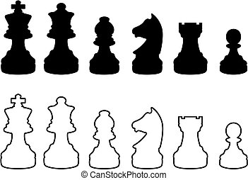Chess silhouettes - Chessmen black and white silhouettes
