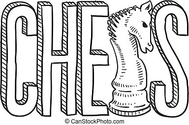 Chess sketch - Doodle style chess illustration in vector...