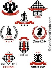 Chess sports game logos, labels and symbols