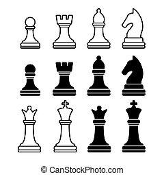 chess stykke, heriblandt, konge, dronning, rook, pant, ridder, og, bishop., vektor, iconerne, sæt