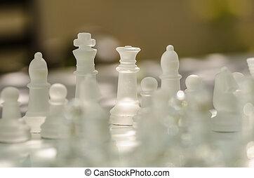 chess stykke, klar, by, den, boldspil