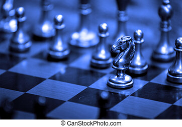 chess stykke, planke på, by, boldspil, og, strategi