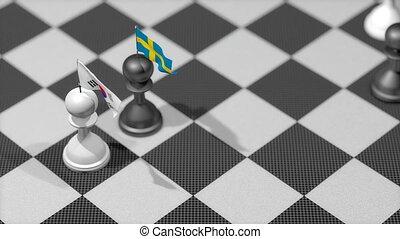 """""""chess, sud, drapeau, pion, pays, corée, sweden."""""""