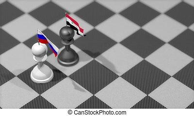 """chess, syria."", russie, pion, pays, drapeau"