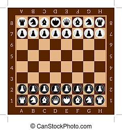 Chess. Table game. Set of black and white figures. Brown...