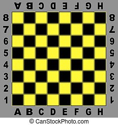 Chess table yellow black board for competition