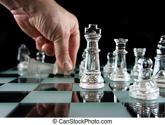 Chess - The laydown - Glass Chess Pieces on a Frosted Glass...
