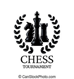 Chess tournament emblem. Chess Pieces King, Knight, Rook with a wreath. Vector illustration isolated on white.