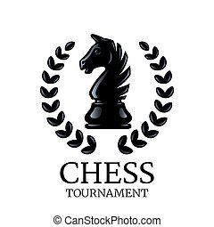 Chess tournament logo. Knight chess piece with a wreath isolated on white. Vector illustration
