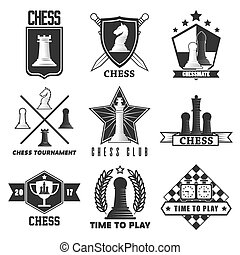 Chess tournament or club vector label icons templates