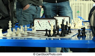Chess tournament outdoors. - MOSCOW - May 6: Chess game...