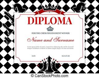 Chess tournament winner diploma vector template
