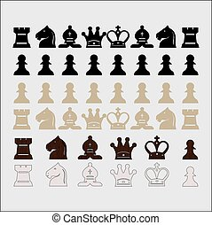 chess - vector set of classic chess pieces with wooden...