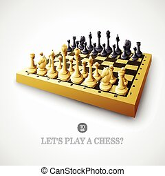 Chess. Vector illustration - Chess with chessboard. Vector...