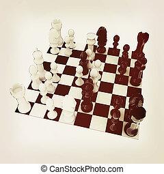 chess., vindima, 3d, style., illustration.