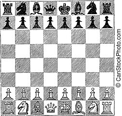 Chess, vintage engraving. Old engraved illustration of Chess...