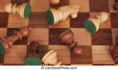 chessboard., échecs, gauche, désordre, morceaux, droit, bois
