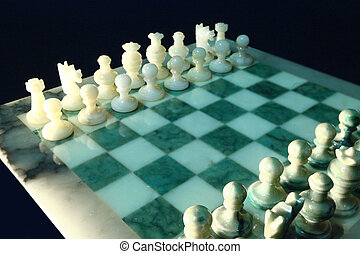 chessboard and alabaster chess i