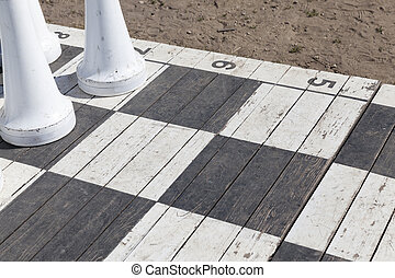 tourist attraction - chessboard and pieces of huge chess ...