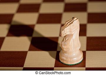 chessboard., chevalier, -, échecs, blanc, morceau
