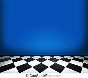 Chessboard Floor Tiles in Blue Room