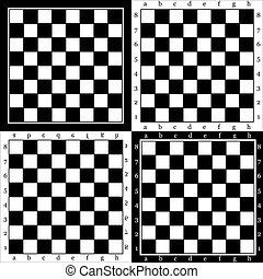 chessboard - four empty chess board, background, vector...