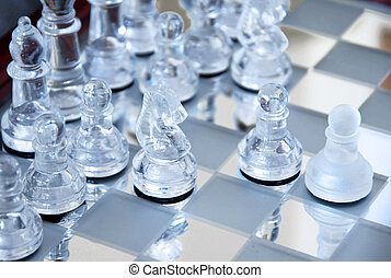 Chessboard - glass chessboard with first beginning position...