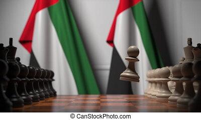 chessboard., powinowaty, bandery, uae, polityczny, 3d, szachy, albo, gra, ożywienie, ręczy, za, rywalizacja