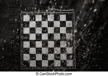 Chessboard under the rain
