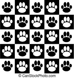 Chessboard with dog paws. Vector illustration.
